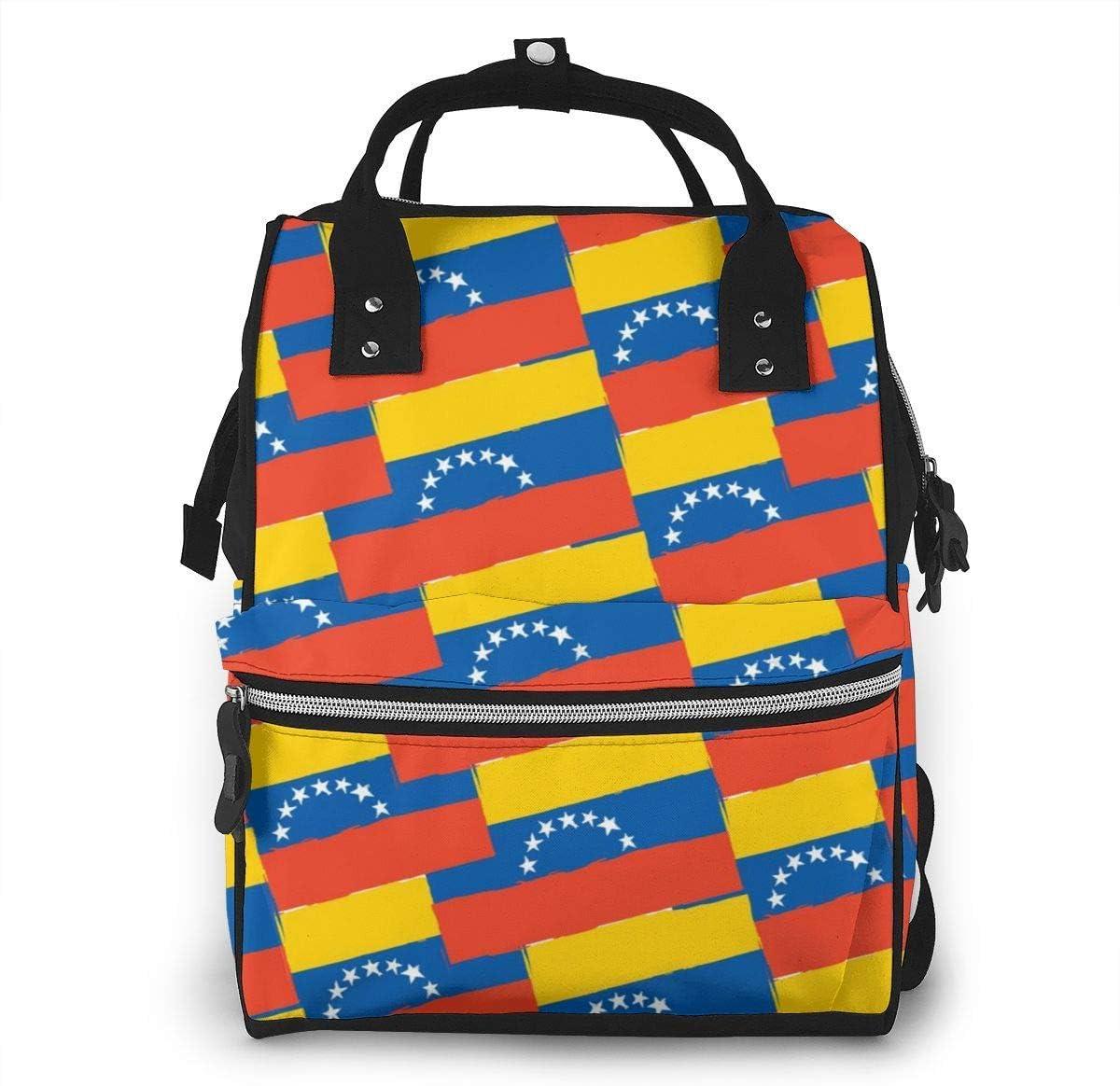 KQJH Venezuela Bandera o pancarta Bolsas de pañales Momia de viaje Bolsas de pañales Mochila de moda Mochila de viaje multifunción