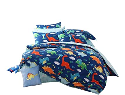Amazoncom Hnnsi 4 Piece Cotton Dinosaur Kids Boys Bedding Sets