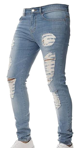 3d855e21d568 ouxiuli Men Distressed Ripped Biker Moto Denim Pants Slim Fit Zipper Jeans  1 26
