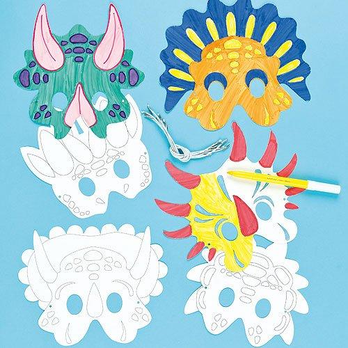 Lot de 6 Masques Dinosaures à colorier - Idéal pour les costumes de Carnaval