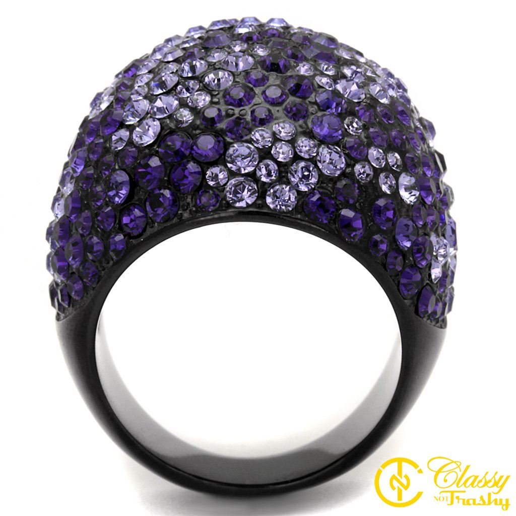 Classy Not Trashy/® Dome Pave Design Womens Fashion Jewelry Ring Premium Grade High Quality Stainless Steel with Ion Plated Black Finish and Purple Colored Top Grade Crystal Stone