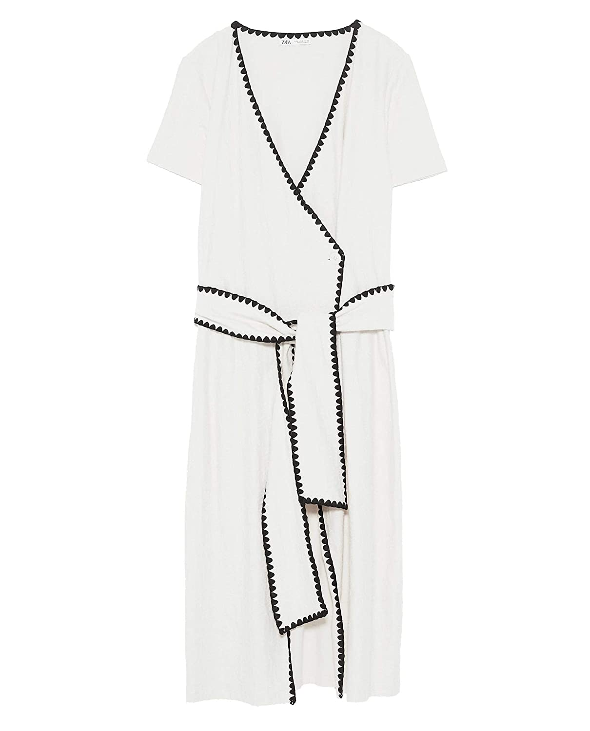 2d3067a6 Zara Women Dress with Contrast Topstitching 1198/002 Off-White at ...