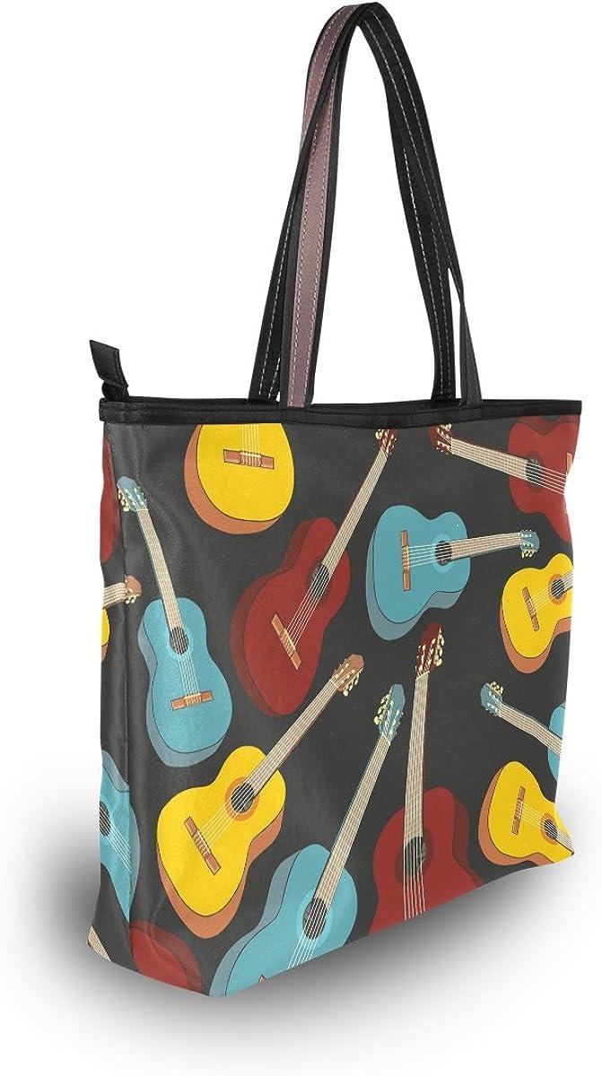 imobaby Womens Classic Acoustic Guitars Music Large Tote Shoulder BagsTop Handle Handbag TT208