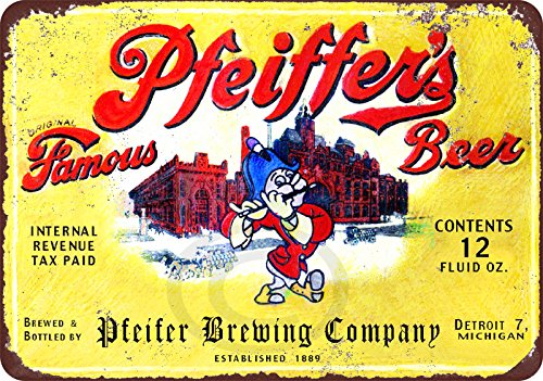 Pfeiffer's Beer brewing company Vintage Reproduction Metal Sign 8 x 12