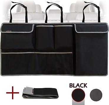 Backseat Trunk Organizer,Car Seat Back Storage,Space Saving with Cargo Net Design 4 Pockets,Bag Back Seat Organizer for Kids Multipurpose Cargo Accessories SUV /& Car Organizer,Black