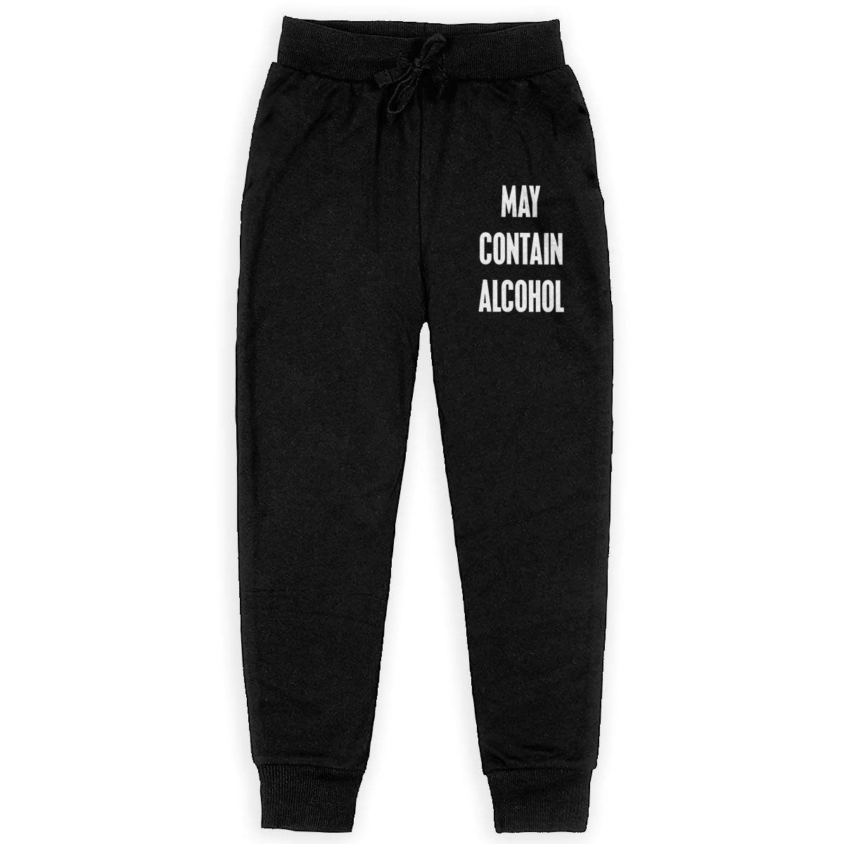 Dunpaiaa May Contain Alcohol Logo Boys Sweatpants,Joggers Sport Training Pants Trousers Black