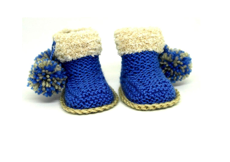 Botines de bebé, Botines de pom pom, Botas de nieve, Botas de invierno, Bebé uggs, Zapatillas de bebé, Botines tejidos a mano, Zapatos de cuna, ...