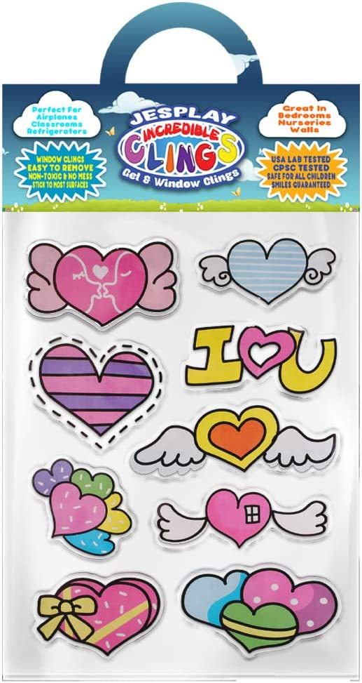 Toddlers Wings Nursery I Love You Kiss Walls Chocolate Bow Planes Bedroom Hearts Thick Gel Clings Incredible Removable Window Clings for Kids Classrooms Incredible Gel Decals for Glass