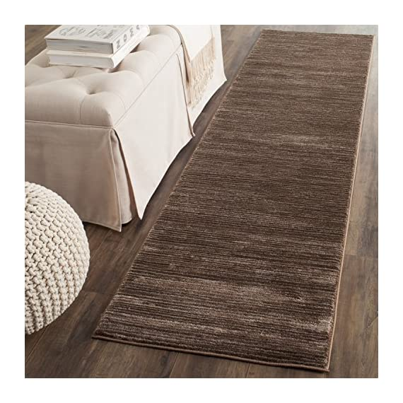 "Safavieh Vision Collection VSN606E Modern Contemporary Ombre Tonal Chic Runner, 2' 2"" x 6', Brown - Tone-on-tone colors give these rugs a clean contemporary vibe Versatile enough to decorate the bedroom, dining room, living room, foyer, or home office Refined power-loomed construction and enhanced polypropylene fibers ensure an easy-care and virtually non-shedding rug - runner-rugs, entryway-furniture-decor, entryway-laundry-room - 61mpZE7vNEL. SS570  -"