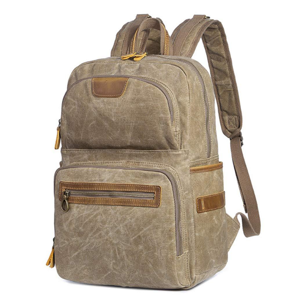 Rnalley アウトドアバックパック 大容量 防水 破れにくい レトロ ファッション キャンバス 旅行バックパック カレッジ スクールバッグ 15.6インチのノートパソコンタブレットに対応  ブラウン B07KFTXW6C