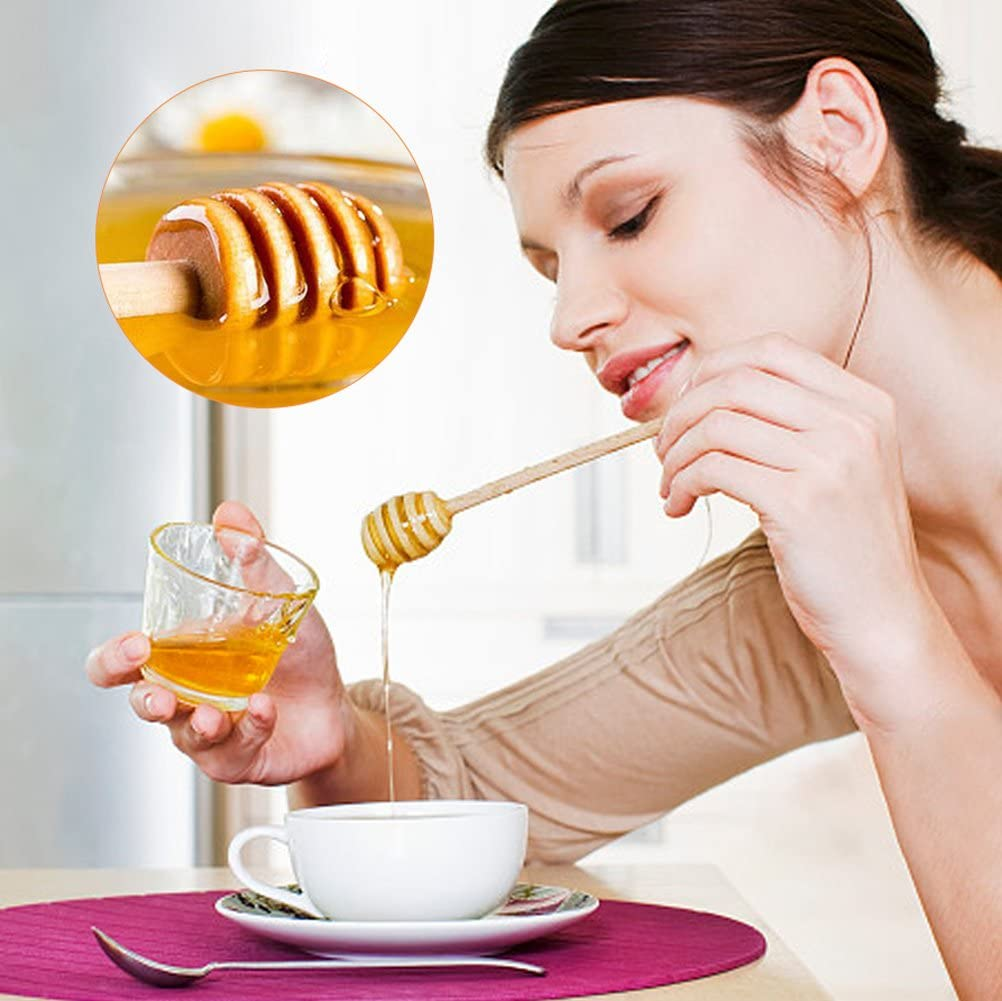 50Pcs//Set Household Wooden Mini Jam Honey Dipper Jar Dispensing Collecting Stirring Rod Stick 10.5cm Stirring Stick Wooden Honey Dipper