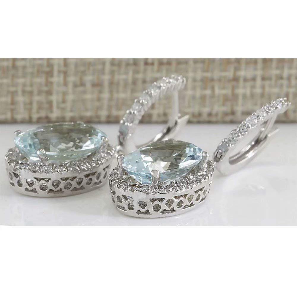 Fashion Women 925 Silver Aquamarine Gemstone Bridal Ear Stud Hoop Dangle Earrings(Style-Round) by SOSUO (Image #5)