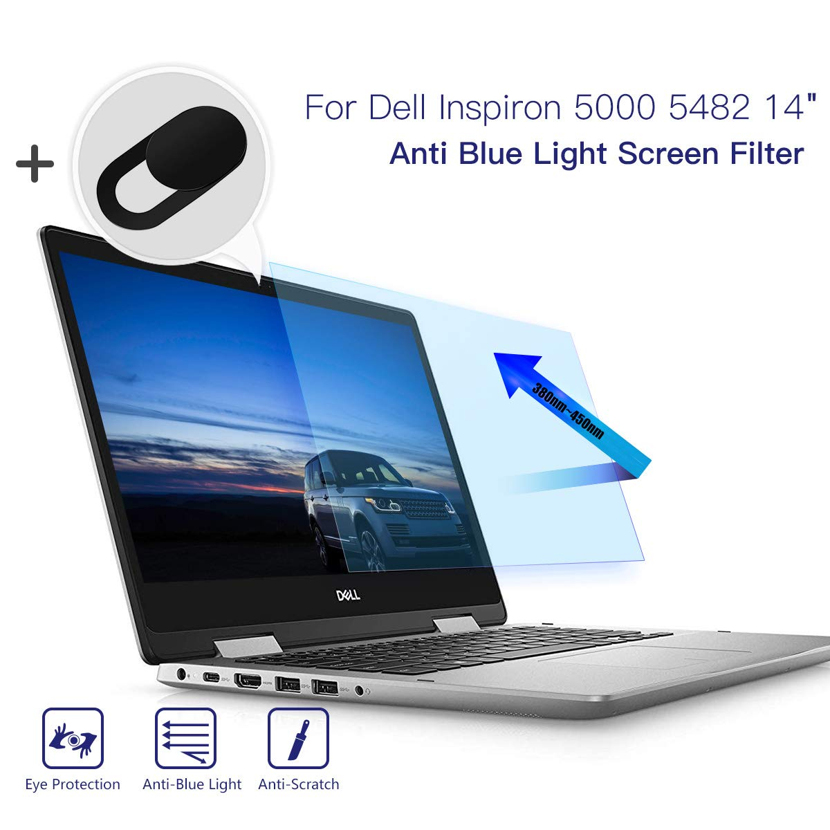 "Anti Blue Light Screen Filter for Dell Inspiron 5000 5482 2-in-1 14"" Touch Screen Laptop, Anti Glare Screen Protector Blue Light Blocking Eye Protection Screen Protector with Webcam Cover"