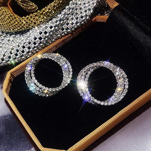 ASHDZ FYUANファッション韓国スタイルの小さなサークルスタッドピアスラグジュアリーゴールドシルバー色のラインストーンのイヤリング女性のウェディングパーティージュエリー (Color : Silver)