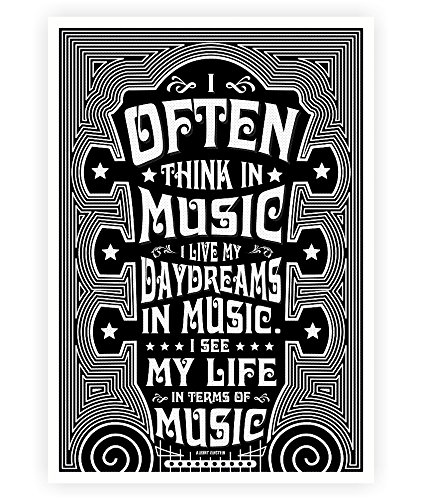 Lab No 4 I Often Think In Music Albert Einstein Music Quotes Poster