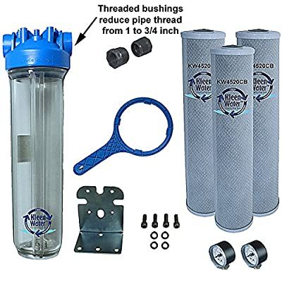 KleenWater Premier4520CL Chlorine Whole House Water Filter System - 3/4 Inch Inlet/Outlet - Transparent Housing - 7 GPM with Bracket, Wrench and Three 4.5 x 20 Chlorine Removal Cartridges