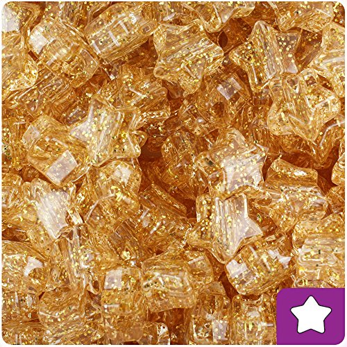 BeadTin Gold Sparkle 13mm Star Pony Beads (250pcs)]()