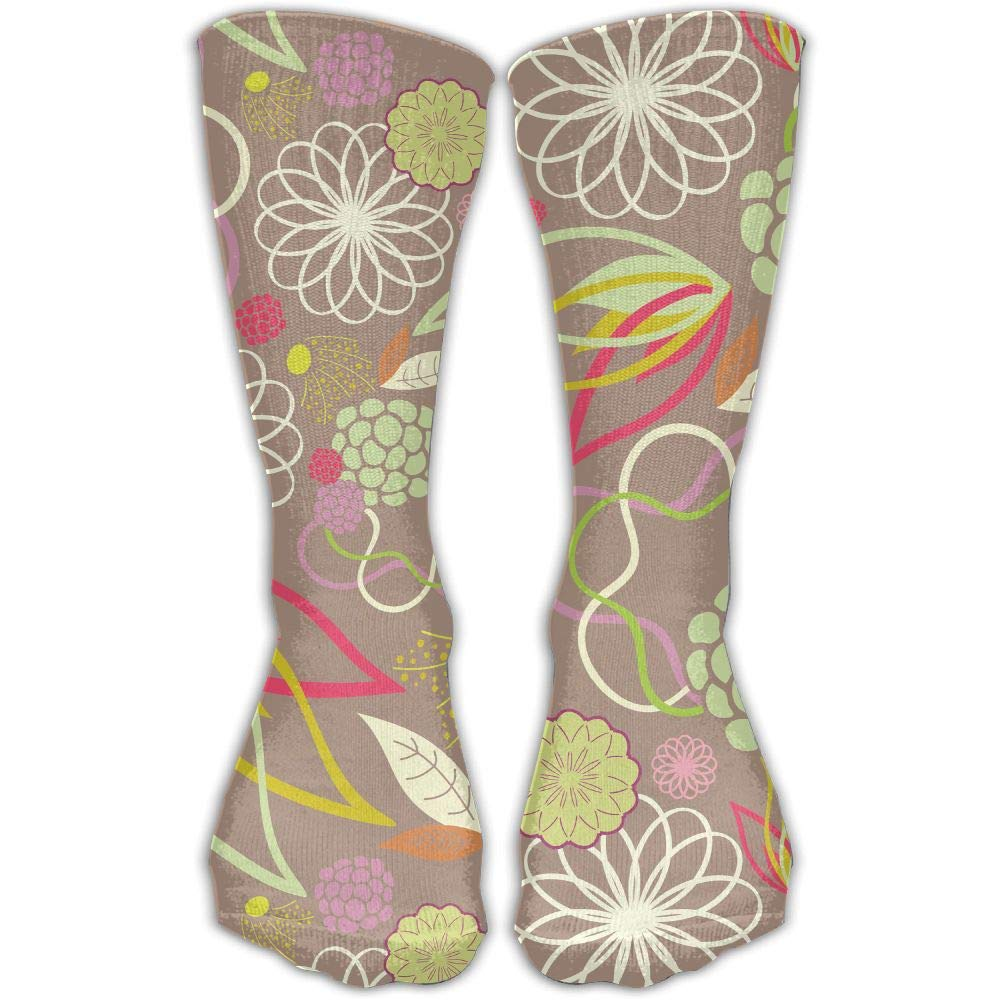 Protect Wrist For Cycling Moisture Control Elastic Sock Tube Socks Floral Art Athletic Soccer Socks