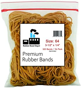 "Rubber Bands, Rubber Band Depot, Size #64 (3-1/2"" x 1/4''), (1 Pound Bag)"