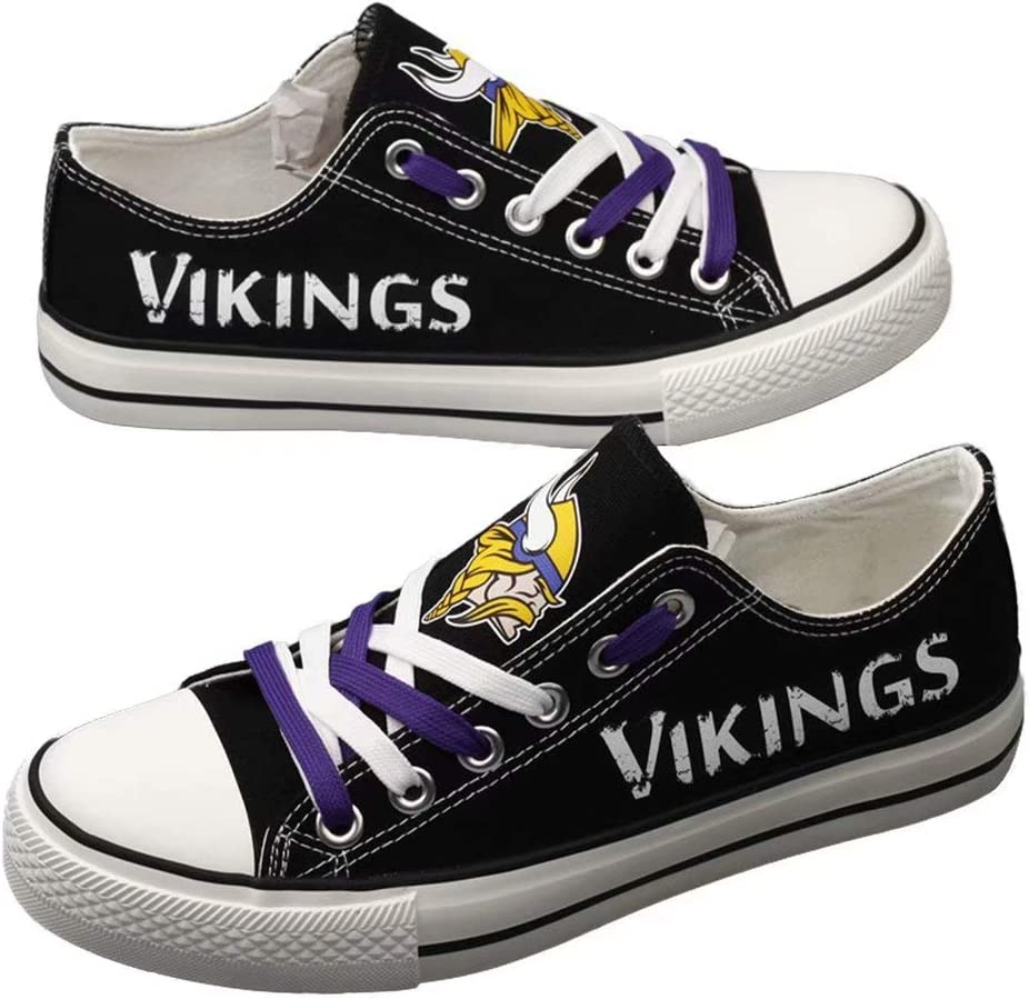 Littlearth Minnesota Vikings Football Team Canvas Shoes Sneakers Fashion Comfortable Casual Low Cut Lace Up Football Walking Shoes Sport Shoes for Adult Youth Men Women