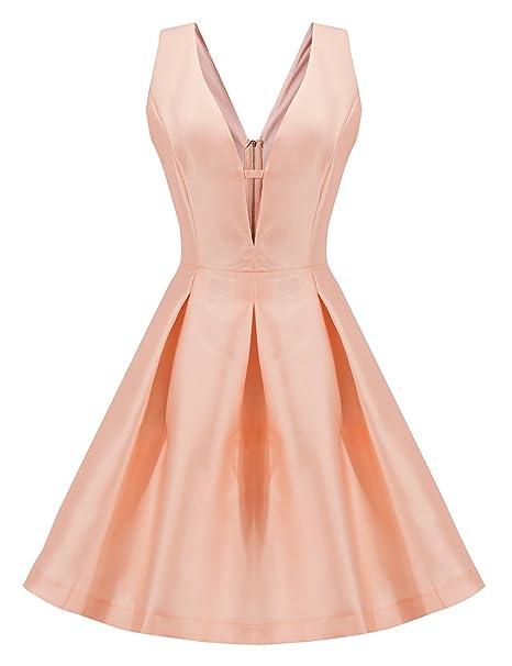 LookbookStore Vestido rosa de mujer plisado de vuelo fit-and-flare con falda de