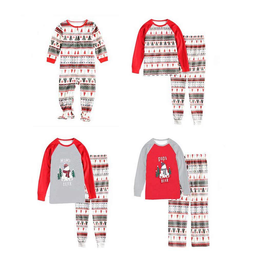 152dee46693ea Miyanuby Ensembles de Pyjama Noel Famille Père Mère Garçon Fille du Nouveau-né  Bébé Pyjamas à ...