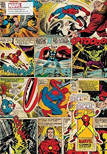 Gemma International Marvel Comics Vintage Design Wrapping Paper - 2 Sheets & 2 Tags by Marvel