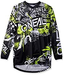 Features: breathable, moisture-wicking material, jersey weight 9.3 oz. (size L), sublimated graphics, extended tail that keeps jersey tucked in, sewn-in elbow padding and V-neck collar.