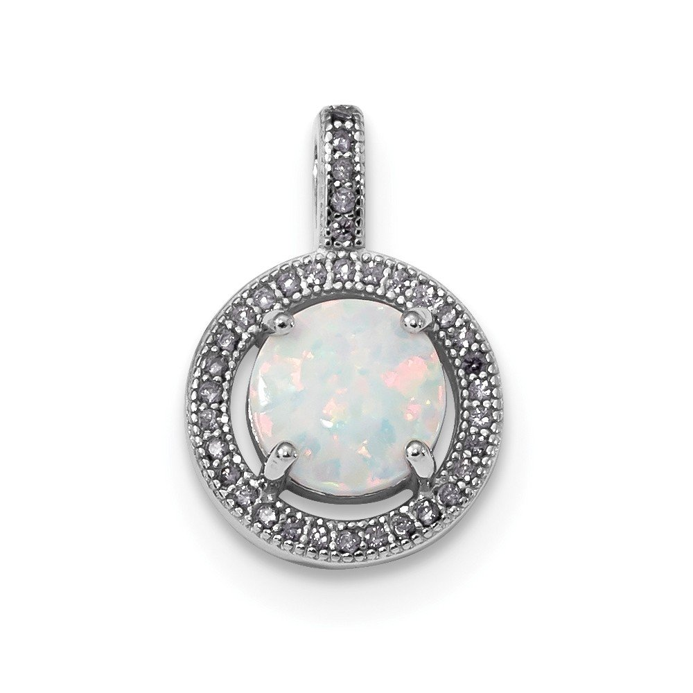 Jewelry Stores Network Sterling Silver Created Opal Purple CZ Pendant 19x13mm