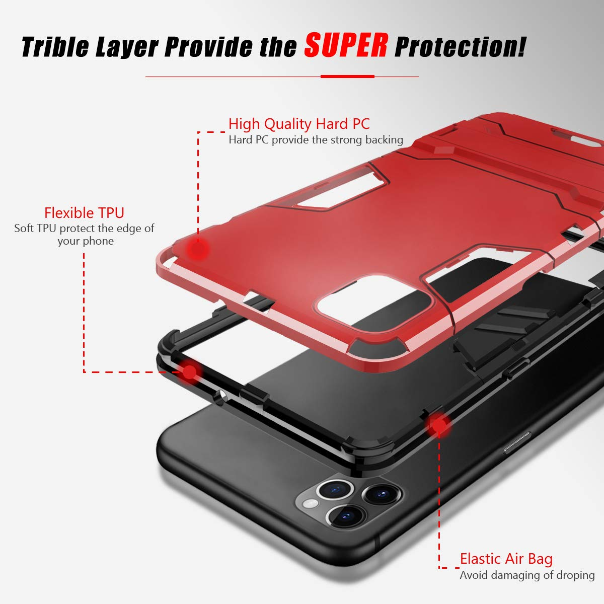 Shockproof Anti Scratch Phone Cover Invisible Kickstand Triple