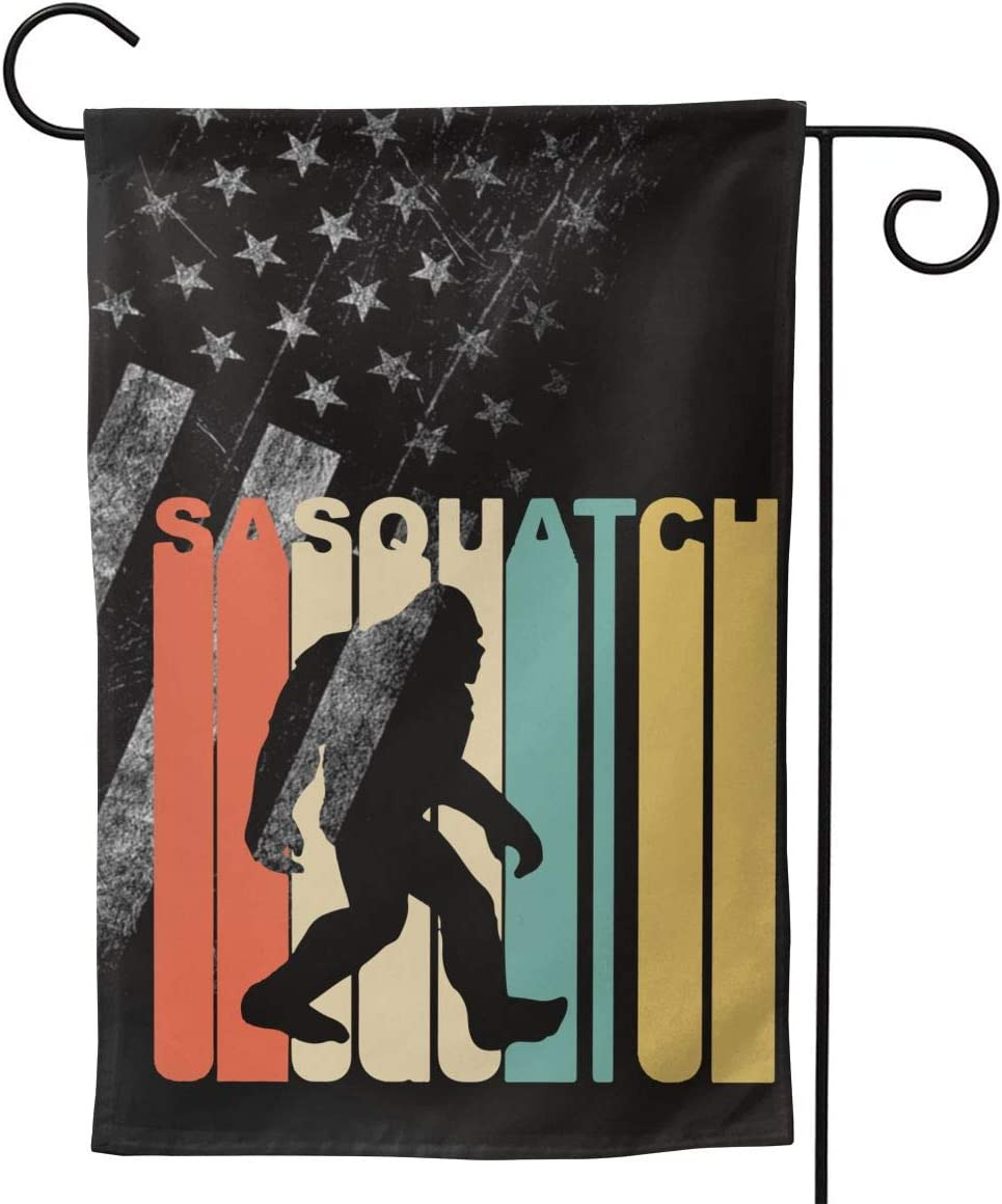 A16HYQ Garden Flags Worn-Out USA Flag Retro 1970's Style Sasquatch Welcome Large Yard Double Sided House Flag Banners for Patio Lawn Home Outdoor Decor 12.5x18In 28x40In