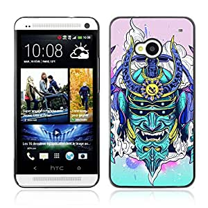 A-type Arte & diseño plástico duro Fundas Cover Cubre Hard Case Cover para HTC One (M7) ( Neon japonés Samurai Monster )