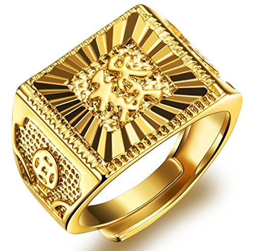 Men%27s+Gold+Ring+18K+Gold+Plated+Luxurious+Shiny+DO+NOT+FADE+%22GOLDEN+RICH%22+Ring+Size+Adjustable