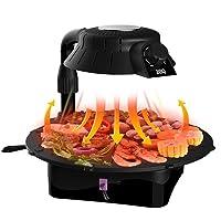 Elektrogrill Elektrogrill Barbecue Grill Tischgrill 3D Infrarot-Grill No Smoke Fat-Free Grillen Rotating Grill Pan Einfache Reinigung ✔ rund ✔ Grillen mit Elektrogrill Infrarot ✔ für den Tisch