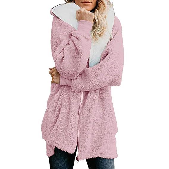 Shallgood Damen Mantel Pl/üsch Winter Stepp Warmen Outwear Cardigan Lange /Ärmel Einfarbig Parka Strickjacken /…