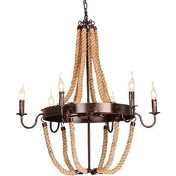 XAJGW Lámparas Colgantes rústicas de la iluminación de la Isla de la Cocina del Vintage 8, marrón (Tamaño : Six Heads): Amazon.es: Hogar