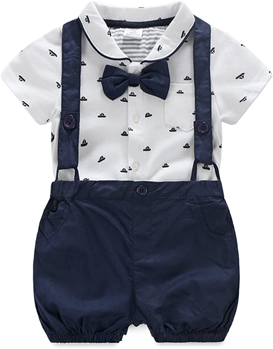 Boarnseorl Baby Boys Short Sleeve Gentleman Outfit Suits Set