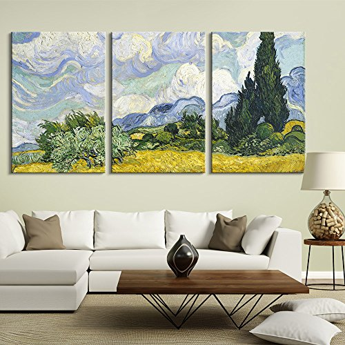 3 Panel Wheat Field with Cypresses by Vincent Van Gogh Gallery x 3 Panels