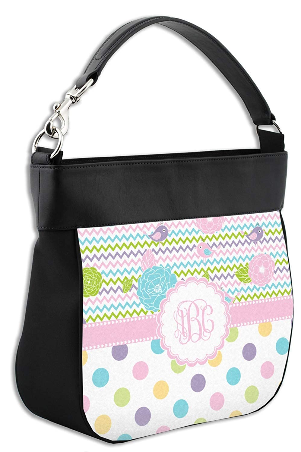 Personalized Girly Girl Hobo Purse w//Genuine Leather Trim Front