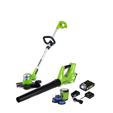GreenWorks 24V Cordless String Trimmer and Blower Combo with 3-Pack Spool STBA24B210