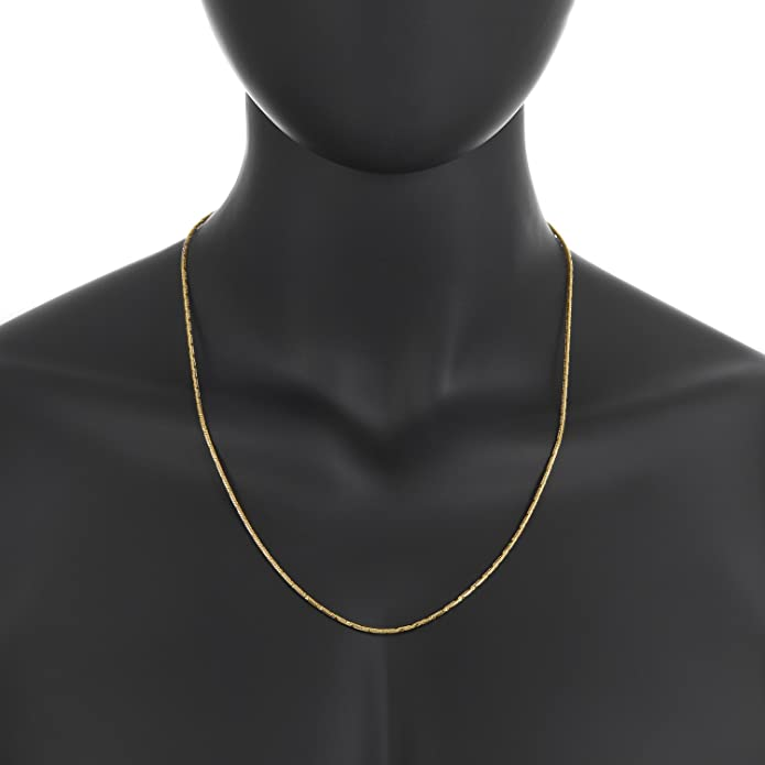 6ceac2d49cd4b The Bling Factory Small 14k Yellow Gold Plated 2mm Diamond-Cut Rounded  Snake Link Chain, 18