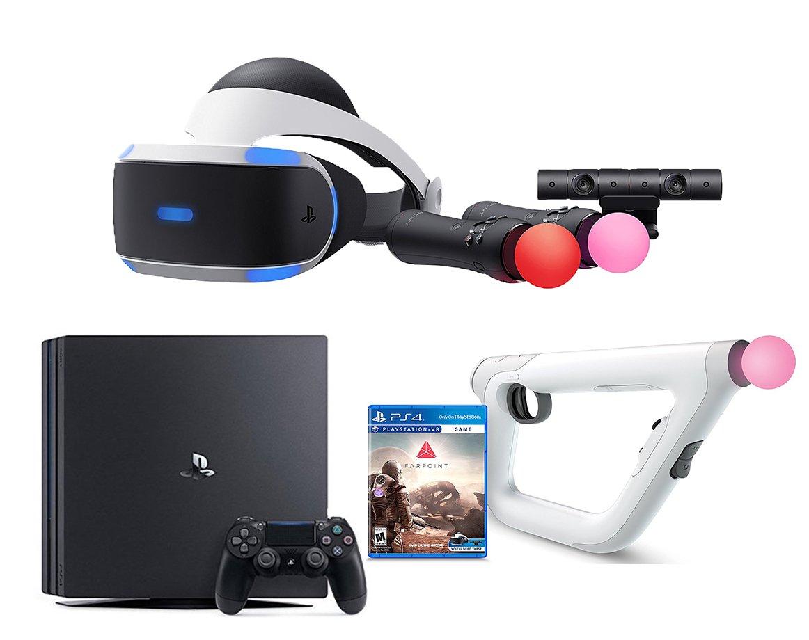 PlayStation VR Starter Bundle 3 Items: VR Starter Bundle, PSVR Aim Controller Farpoint Bundle, Playstation 4 Pro Console