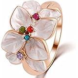 Jewelry Ring 18K Rose Gold Plt Austrian Crystal White Enamel Flower Ring for Women