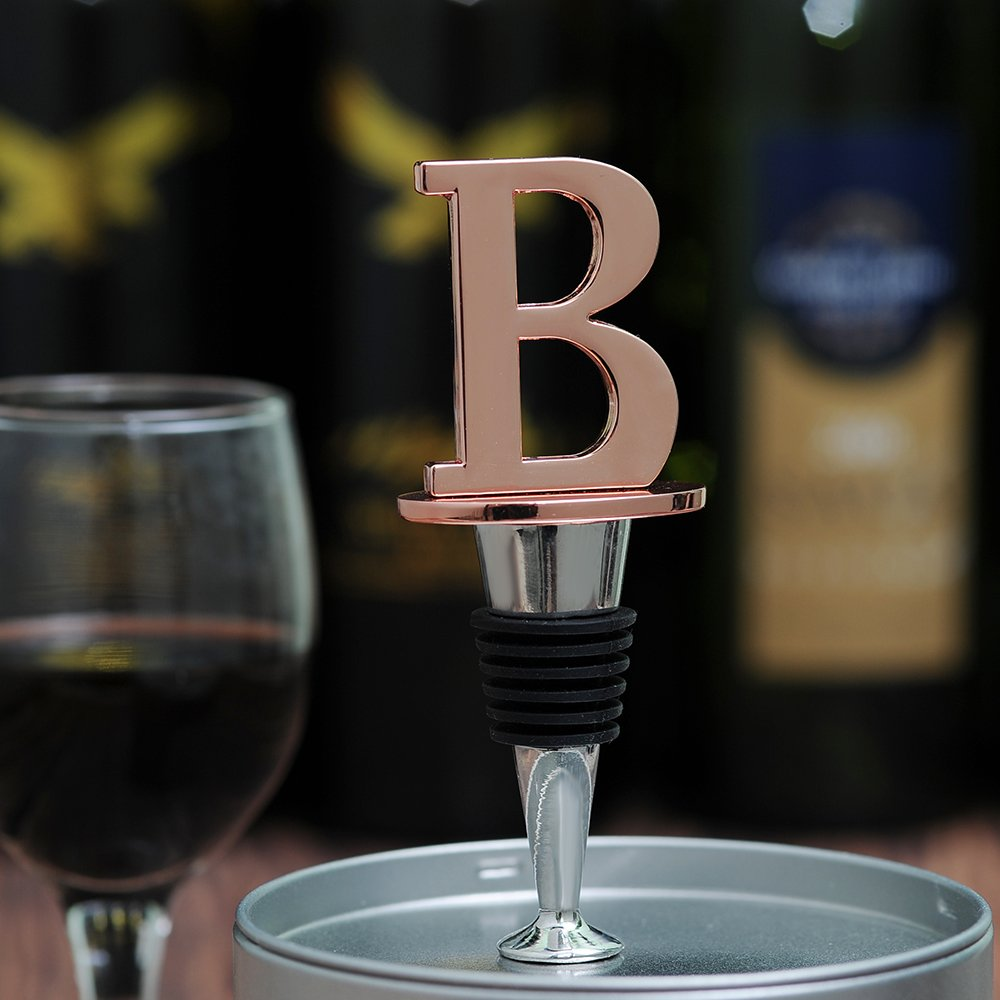 Letter M Wine and Beverage Bottle Stopper With Rose Gold Finish,M-Initial