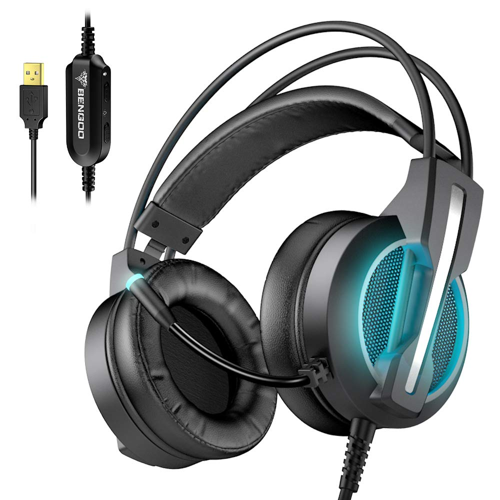 BENGOO GH1 Series II 7.1 Gaming Headset for PC, PS4 Gaming Console, USB Headphones with Noise Canceling Mic, 4D Intelligent Vibration, Strong Bass, LED Light for Laptop Mac Games