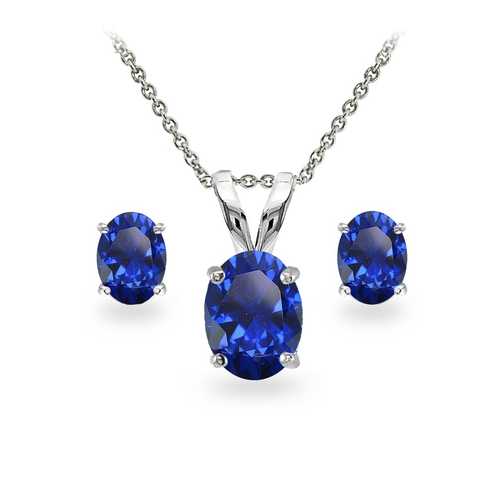 GemStar USA Sterling Silver Created Blue Sapphire Oval-cut Solitaire Necklace and Stud Earrings Set
