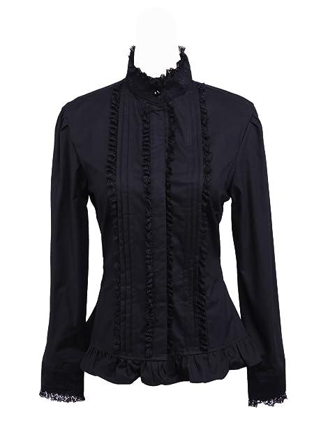 antaina Negra Algodón Volantes Encaje Classical Stand-Up Collar Lolita Camisa Blusa de Mujer,