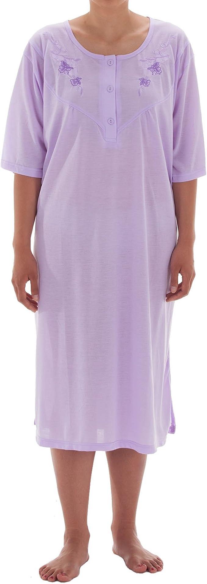 Romesa Camisón de mujer de manga corta monocolor con bordado, tallas grandes 3XL-6XL