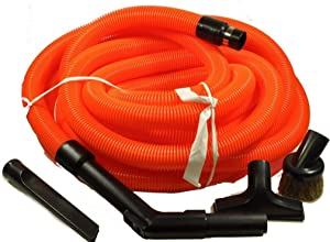 30' Central Vacuum Orange Garage Hose Kit with Tools for Beam, Vacuflo, Nutone, Electrolux