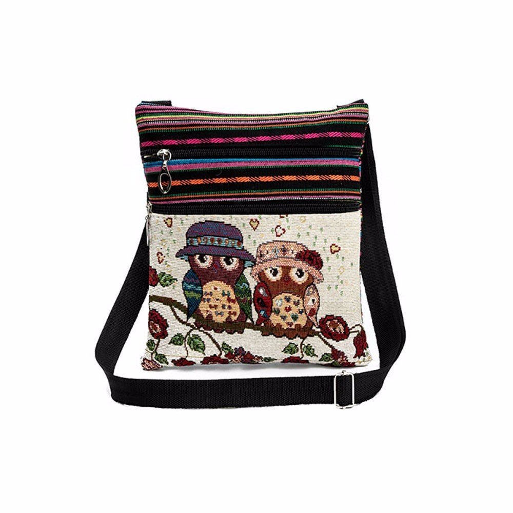 Liraly Women Bags, Embroidered Owl Tote Bags Women Shoulder Bag Handbags Postman Package (C)